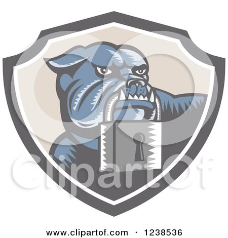 Retro Woodcut Bulldog with a Padlock in a Security Shield Posters, Art Prints
