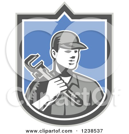 Clipart of a Retro Woodcut Plumber Holding a Monkey Wrench in a Shield - Royalty Free Vector Illustration by patrimonio