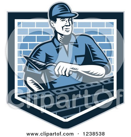 Clipart Of A Retro Woodcut Mason Man Laying Bricks In A Shield Royalty Free Vector Illustration