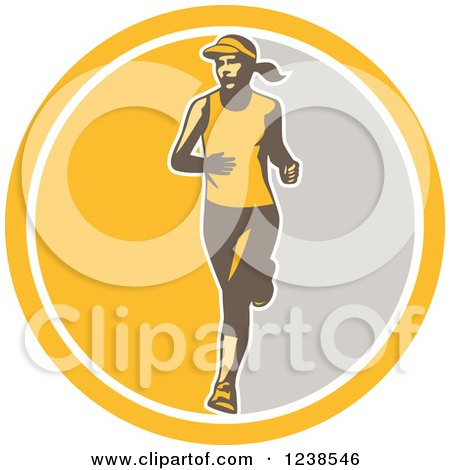 Clipart of a Retro Female Marathon Runner in a Yellow and Gray Circle - Royalty Free Vector Illustration by patrimonio