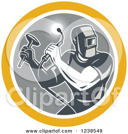Clipart of a Retro Male Welder with a Torch and Hammer in a Circle - Royalty Free Vector Illustration by patrimonio