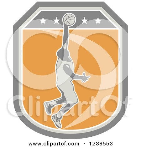 Clipart of a Retro Basketball Player on a Shield - Royalty Free Vector Illustration by patrimonio
