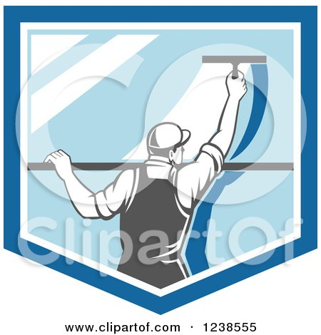 Clipart of a Retro Window Washer Using a Squeegee on a Window Shield - Royalty Free Vector Illustration by patrimonio