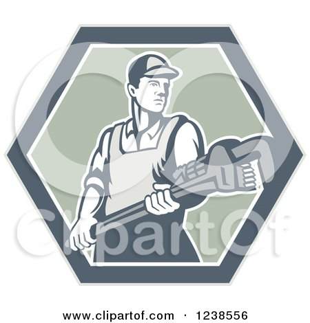 Clipart of a Retro Plumber Holding a Monkey Wrench in a Hexagon - Royalty Free Vector Illustration by patrimonio