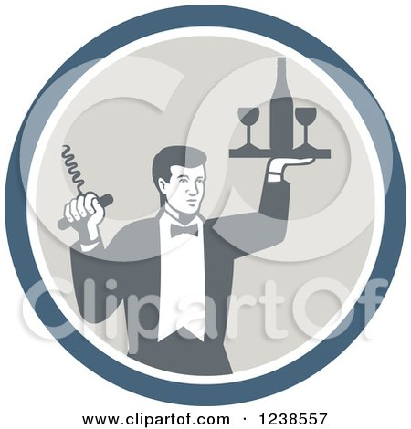 Clipart of a Retro Male Waiter Serving Wine in a Circle - Royalty Free Vector Illustration by patrimonio
