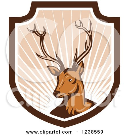 Clipart of a Deer Stag in a Shield of Rays - Royalty Free Vector Illustration by patrimonio