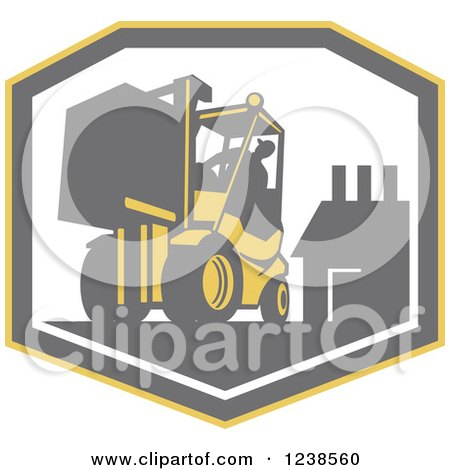 Clipart of a Retro Worker Operating a Forklift over a Factory Shield - Royalty Free Vector Illustration by patrimonio