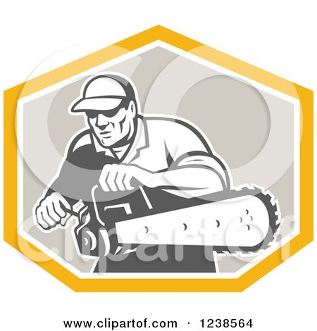 Clipart of a Retro Arborist Using a Saw in a Crest - Royalty Free Vector Illustration by patrimonio