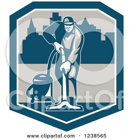 Clipart of a Retro Janitor Operating a Carpet Cleaner over a City in a Shield - Royalty Free Vector Illustration by patrimonio