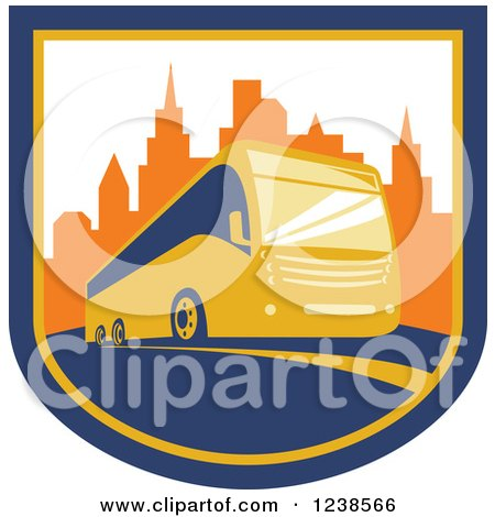 Clipart of a Coach City Bus in a Shield with Skyscrapers - Royalty Free Vector Illustration by patrimonio