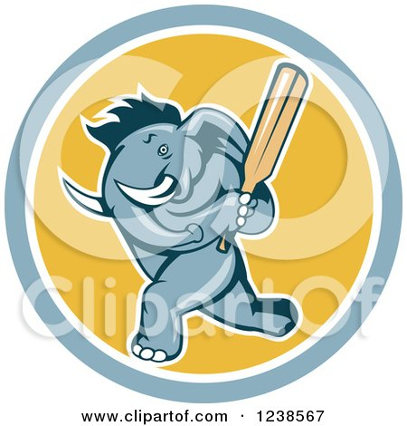 Clipart of a Blue Elephant Cricket Batsman in a Circle - Royalty Free Vector Illustration by patrimonio