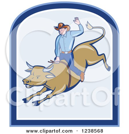 Clipart of a Cartoon Rodeo Cowboy Riding a Bull - Royalty Free Vector Illustration by patrimonio