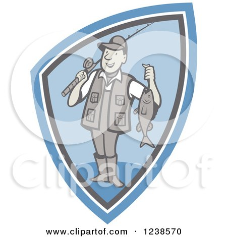 Clipart of a Cartoon Fisherman Holding up His Catch in a Blue Shield - Royalty Free Vector Illustration by patrimonio