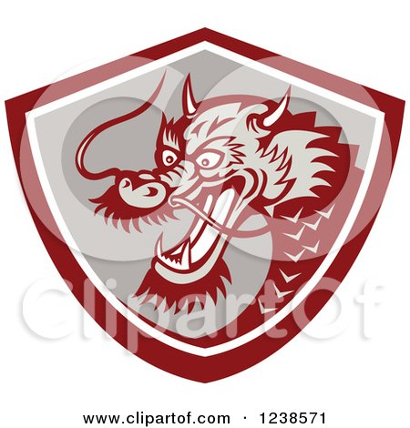 Clipart of a Chinese Dragon in a Shield - Royalty Free Vector Illustration by patrimonio