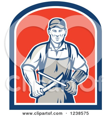 Clipart of a Retro Butcher Sharpening a Knife on a Shield - Royalty Free Vector Illustration by patrimonio