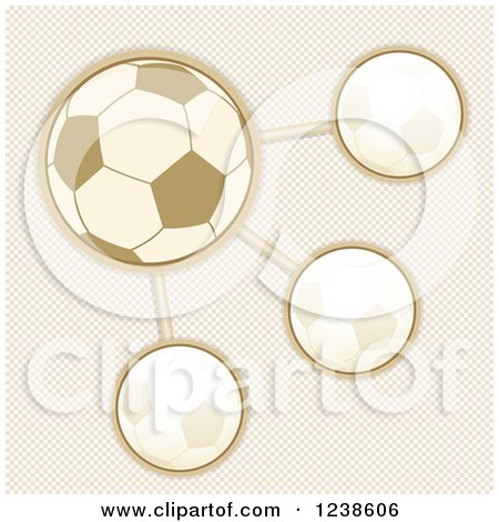 Clipart of a Sepia Soccer Ball Infographic Design over Checkers - Royalty Free Vector Illustration by elaineitalia