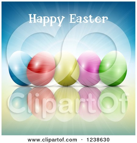 Clipart of a Happy Easter Greeting over Colorful Eggs and Blue Sunshine - Royalty Free Vector Illustration by KJ Pargeter