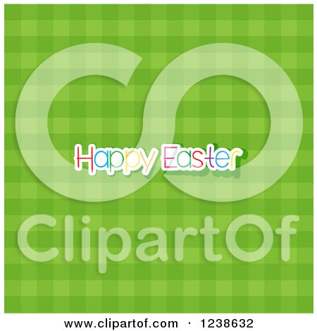 Clipart of a Green Gingham Plaid Background with Happy Easter Text - Royalty Free Vector Illustration by KJ Pargeter