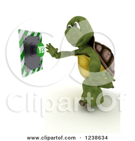 Clipart of a 3d Tortoise Reaching to Push a Yes Button - Royalty Free Illustration by KJ Pargeter