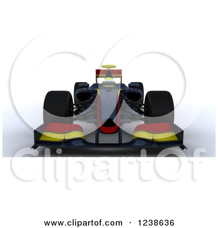 Clipart of a 3d Red and Yellow F1 Race Car - Royalty Free Illustration by KJ Pargeter