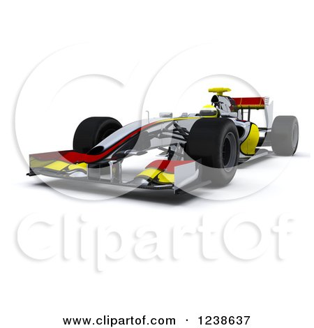 Clipart of a 3d Red and Yellow F1 Race Car, on White - Royalty Free Illustration by KJ Pargeter