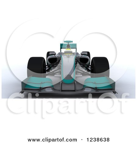 Clipart of a 3d Turuoise F1 Race Car - Royalty Free Illustration by KJ Pargeter