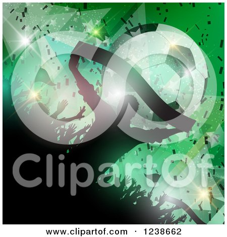Clipart of a Silhouetted Football Fan Crowd over Green with Stars, a Banner and Soccer Ball - Royalty Free Vector Illustration by KJ Pargeter