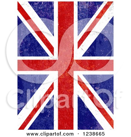 Clipart of a Distresed Union Jack Flag Background - Royalty Free Vector Illustration by KJ Pargeter