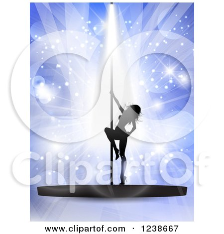 Clipart of a Silhouetted Sexy Pole Dancer Woman over Purple Lights and Flares - Royalty Free Vector Illustration by KJ Pargeter