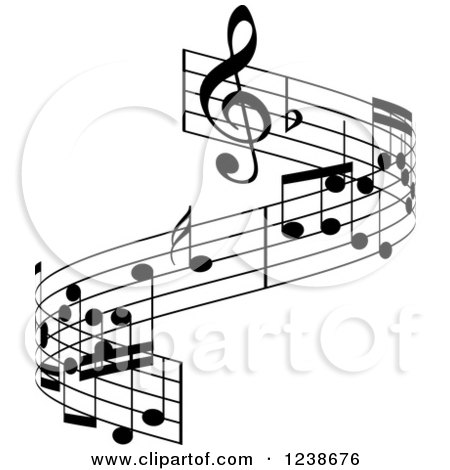 Clipart of a Black and White Music Note Design Element - Royalty Free Vector Illustration by KJ Pargeter