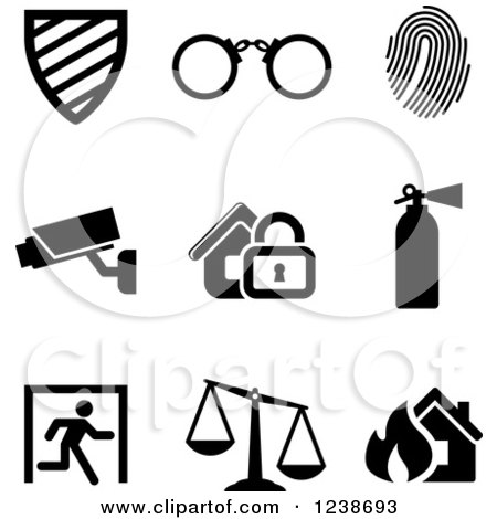 Clipart of Black and White Surveillance Icons - Royalty Free Vector Illustration by Vector Tradition SM
