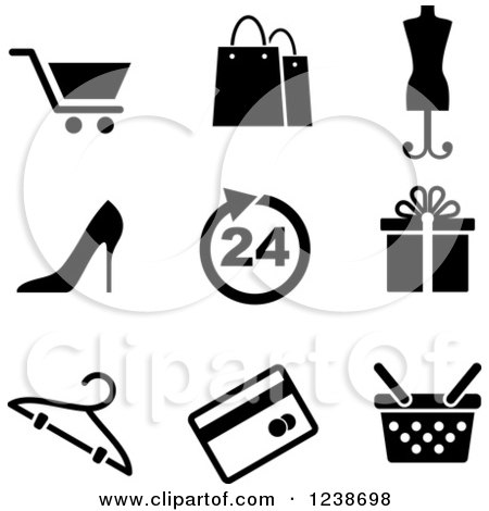 Clipart of Black and White Shopping Retail Icons - Royalty Free Vector Illustration by Vector Tradition SM
