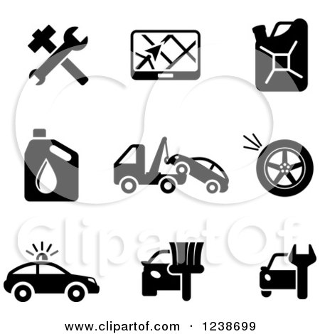 Clipart of Black and White Transportation and Automotive Icons - Royalty Free Vector Illustration by Vector Tradition SM