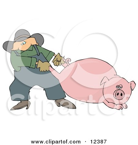 Male Farmer Pulling a Fat Pink Pig by the Hind Legs Clipart Picture by djart