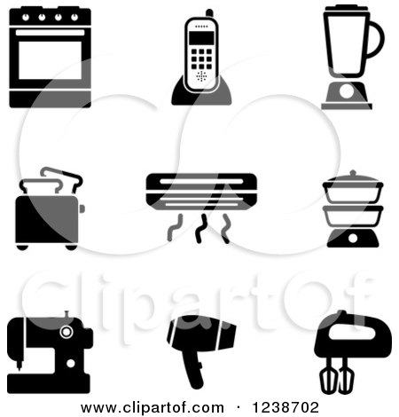Clipart of Black and White Household and Kitchen Icons - Royalty Free Vector Illustration by Vector Tradition SM
