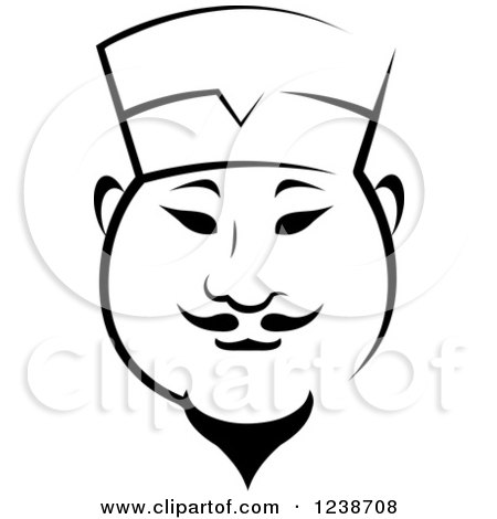 Clipart of a Black and White Male Asian Chef 4 - Royalty Free Vector Illustration by Vector Tradition SM