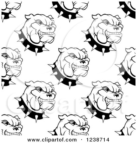 Clipart of a Seamless Background Pattern of Black and White Bulldogs and Spiked Collars - Royalty Free Vector Illustration by Vector Tradition SM