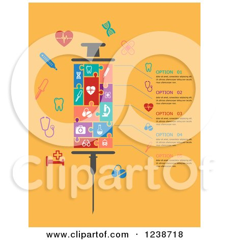 Clipart of a Puzzle Medical Syringe with Infographic Text and Icons on Yellow - Royalty Free Vector Illustration by Vector Tradition SM