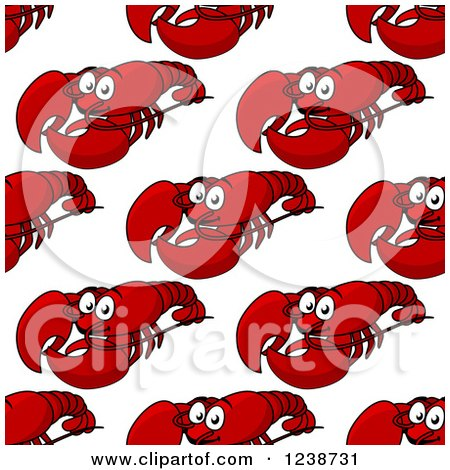 Clipart of a Seamless Background Pattern of Happy Red Lobsters - Royalty Free Vector Illustration by Vector Tradition SM