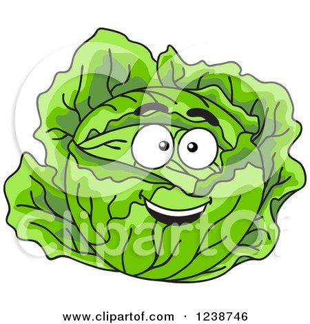 Clipart of a Smiling Cabbage - Royalty Free Vector Illustration by Vector Tradition SM