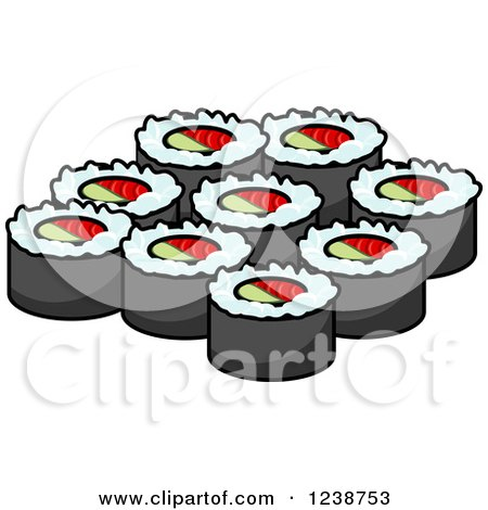 Clipart of Sushi Rolls - Royalty Free Vector Illustration by Vector Tradition SM