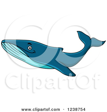 Clipart of a Cartoon Happy Humpback Whale - Royalty Free Vector Illustration by Vector Tradition SM