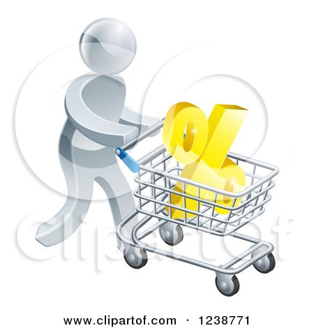 Clipart of a 3d Silver Man Pushing a Percent Symbol in a Shopping Cart - Royalty Free Vector Illustration by AtStockIllustration