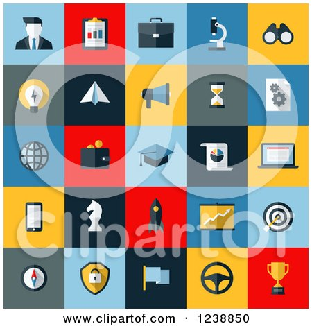 Clipart of Colorful SEO and Website Icon Squares - Royalty Free Vector Illustration by elena