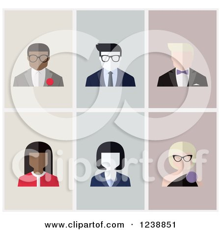 Clipart of Male and Female Avatar Icons - Royalty Free Vector Illustration by elena