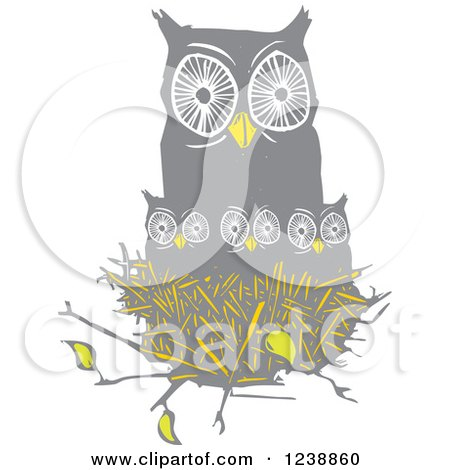 Clipart of an Owl with Chicks in a Nest - Royalty Free Vector Illustration by xunantunich