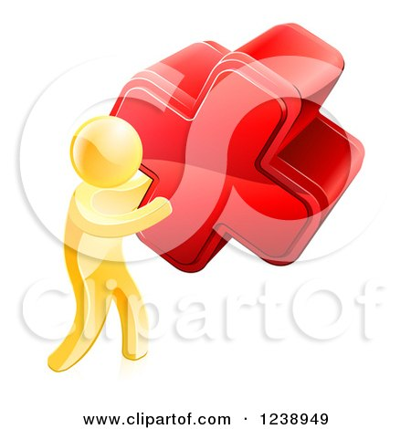 Clipart of a 3d Gold Man Carrying a Giant Red Cross X - Royalty Free Vector Illustration by AtStockIllustration