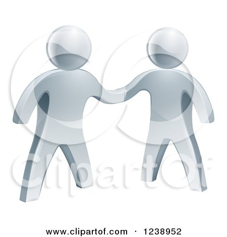 3d Silver Men Shaking Hands on an Agreement Posters, Art Prints