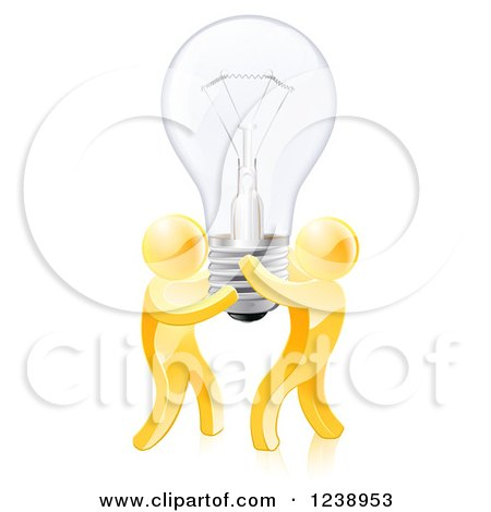 Clipart of 3d Gold Men Holding up a Lightbulb - Royalty Free Vector Illustration by AtStockIllustration