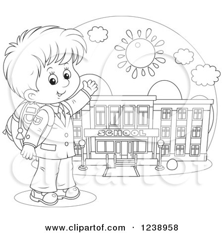 1238958-Clipart-Of-A-Black-And-White-Sch